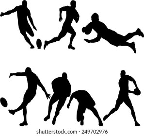 The set of 6 Rugby silhouette