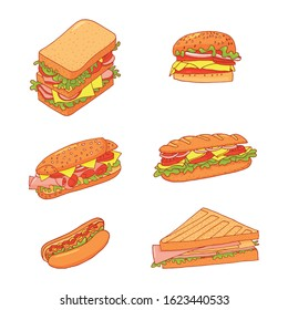 Set of 6 sandwiches. Collection of vector fast food pictures illustrations on a white background. Vector