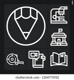 Set of 6 school outline icons such as ruler, pencil, open book, microscope, library