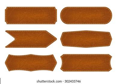 Set of 6 shapes leather sign labels. Vector illustration