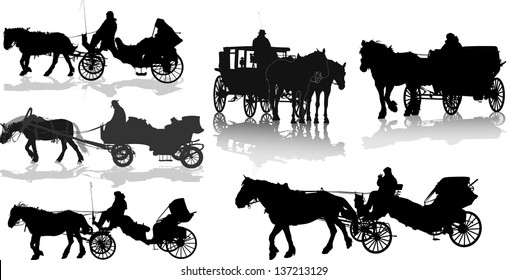 Set of 6 silhouettes of a horse put to a cart
