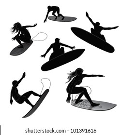 Set of 6 silhouettes of surfers