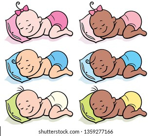 Set of 6 sleeping babies in diapers over white background.