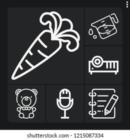 Set of 6 studio outline icons such as edit, carrot, projector, liter, microphone