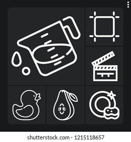 Set of 6 studio outline icons such as pear, dish, artboard, rubber duck, liter
