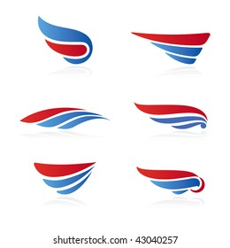 Set of 6 symbols in form of the wing