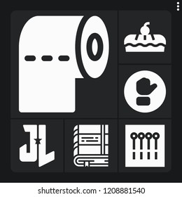 Set of 6 template filled icons such as book, toilet paper, button, justice league, pie