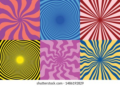 set of 6 Twirl Swirl Sunburst Spin 70s Retro colors abstract  backgrounds Vintage  and spiral sunburst background vectors