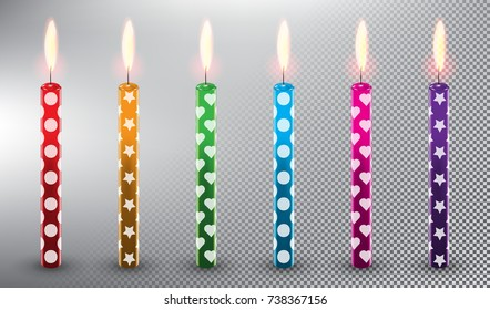 Set of 6 vector candles. Birthday cake candles. Realistic and isolated with transparent burning flame and shadow on the white background. Vector illustration. Eps10.