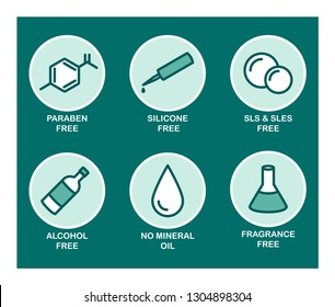 A set of 6 vector icons for cosmetics. Green. Paraben, silicone, sls, sles, alcohol, mineral oil, fragrance.