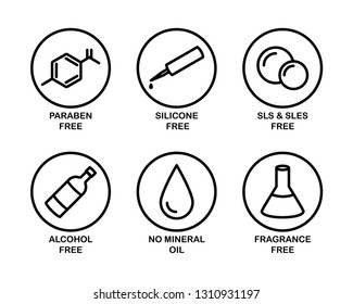 A set of 6 vector icons for cosmetics. Black and white. Paraben, silicone, sls, sles, alcohol, mineral oil, fragrance.