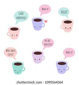 Set of 6 vector kawaii coffee cups with funny faces and phrases, good for bullet journal, stickers, scrapbooking, patches, etc.