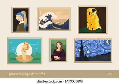 Set of 6 vector paintings, flat minimalism. Inspired by Vermeer, Hokusai, Klimt, Botticelli, da Vinci and Van Gogh.