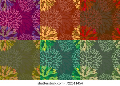 Set of 6 vector seamless abstract floral backgrounds