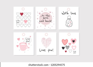 Set of 6 vector Valentine's inspired tags with hearts, simple flat style. Perfect for gift tags, greeting cards, etc.