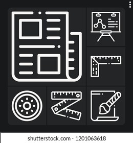 Set of 6 web outline icons such as ruler, news, svg file, shield
