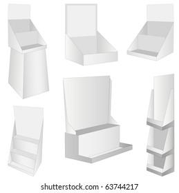 set of 6 white new display. vector illustration