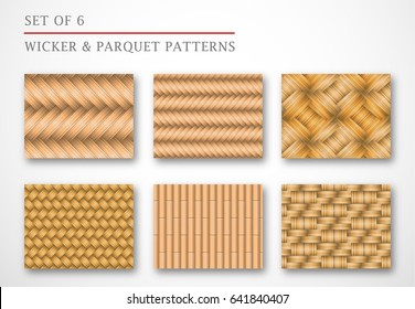 A set of 6 wicker and parquet backgrounds Pattern wood texture. Different wood types and colors, ?an be used in postcards, web, flyers and banners. Modern stylish panels. Vector illustration. EPS 10.