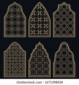 Set of 6 windows with geometric ornament in arabian style. Traditional arabic or islamic ornamental windows in gold and black. Isolated design elements for invitation, greeting card