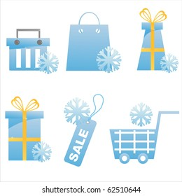 set of 6 winter shopping icons
