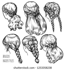 French Braid Hair Stock Illustrations, Images \u0026 Vectors