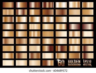 Set of 60 bronze colored metal gradients, swatches collection. Different gradation design