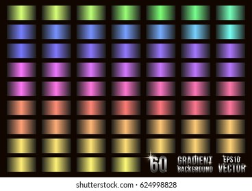 Set of 60 colored gradients, swatches collection. Different gradation design. Soft bright color gradients