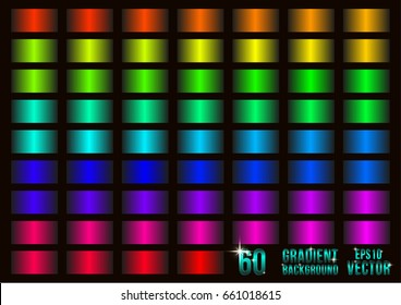 Set of 60 colored gradients, swatches collection. Different gradation design. Bright color gradients