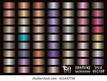 Set of 60 colored metal gradients, swatches collection. Different gradation design