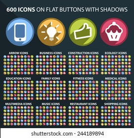 Set of 600 Universal and Standard White Icons on Flat Circular Colored Buttons with Shadows on Black Background ( isolated elements )