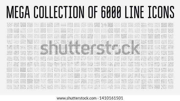 Set of 6000 modern thin line icons. Outline isolated signs for mobile and web. High quality pictograms. Linear icons set of business, medical, UI and UX, media, money, travel, etc.