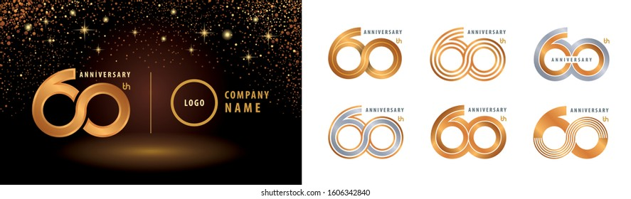 Set of 60th Anniversary logotype design, Sixty years Celebrating Anniversary Logo silver and golden for celebration event, invitation, greeting, Infinity logo vector illustration, web template, flyer