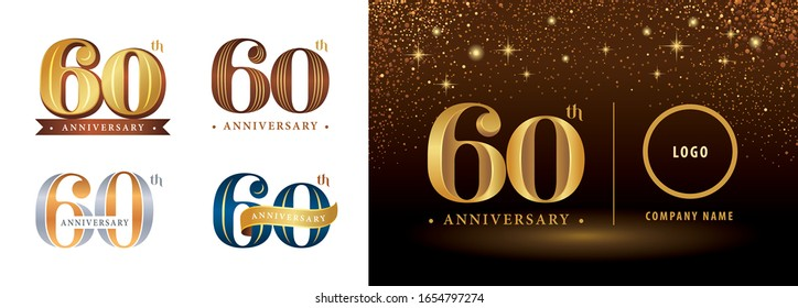 Set of 60th Anniversary logotype design, Sixty years Celebrating Anniversary Logo silver and golden, Vintage and Retro Serif Number Letters, Elegant Classic Logo for Congratulation celebration event.