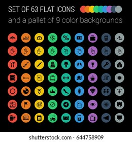 Set of 63 Flat Icons and a Pallet of 9 Color Circular Background on a Black Background