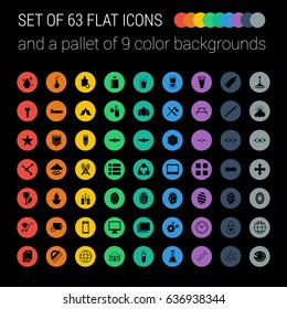 Set of 63 Mix Flat Icons and a Pallet of 9 Color Backgrounds on Black Background