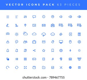 Set of 63 vector Universal Minimal Modern Line Icons. Collection of Modern isolated Pictograms.