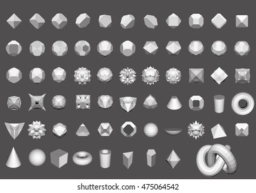 set of 64 geometric shapes polygon figures for logo vector