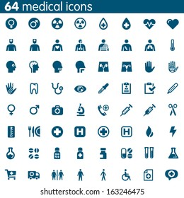 Set of 64 vector medical icons