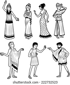 Set of 7 Ancient Greek tragedy drama characters cartoon figures