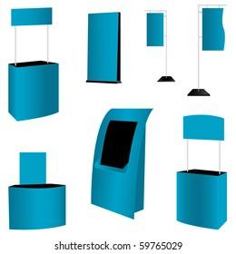 set of 7 blue display. vector illustration