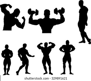 The set of 7 Body building silhouette