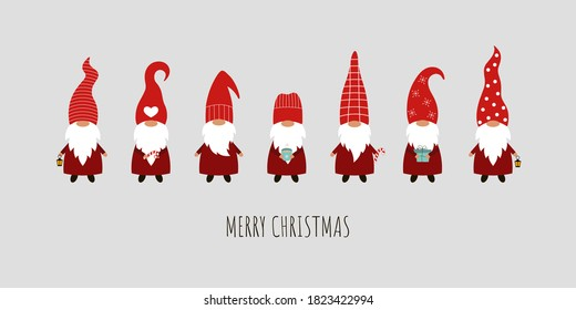 Set of 7 Christmas gnomes on a gray background. Vector card with gnomes in red hats.