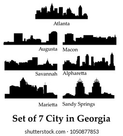 Set of 7 City in Georgia ( Atlanta, Savannah, Augusta, Macon, Alpharetta Sandy Springs, Marietta )