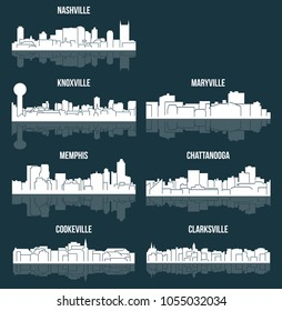 Set of 7 City Silhouette in Tennessee ( Knoxville, Nashville, Memphis, Cookeville, Clarksville, Maryville, Chattanooga )