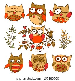 Set of 7 colorfully adorable little owls