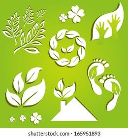 set of 7 ecology icons, symbols of nature