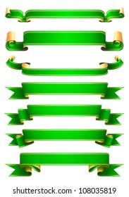 set of 7 green ribbon banners