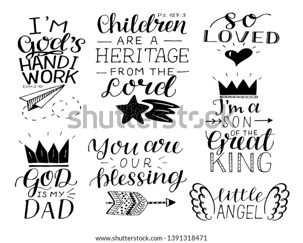 Set 7 Hand Lettering Baby Quotes Stock Vector (Royalty Free ...
