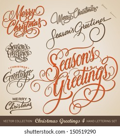Set of 7 hand-lettered CHRISTMAS GREETINGS -- handmade calligraphy, vector (eps8)