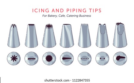 Set of 7 metallic icing nozzles. Top view and front view. Most popular cake decorating tips. Vector illustration.